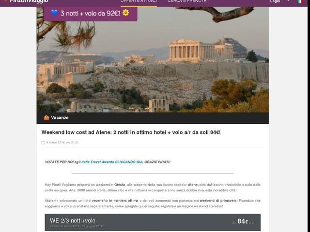 Weekend low cost ad Atene: 2 notti in ottimo hotel + volo a/r da ...