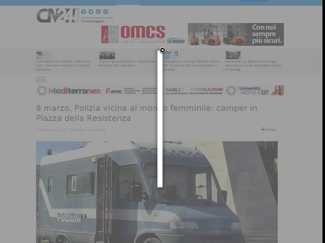 8 marzo. Polizia vicina al mondo femminile: camper in Piazza della Resistenza