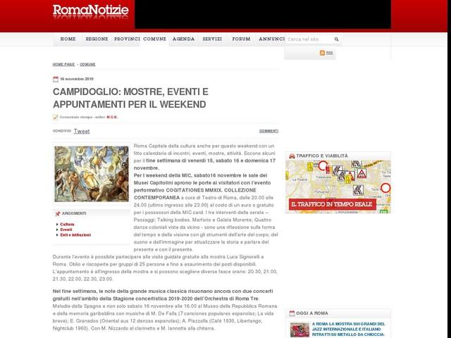 Campidoglio: mostre, eventi e appuntamenti per il weekend
