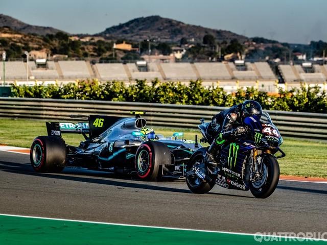 Valentino Rossi - In pista con la Formula 1 di Hamilton - VIDEO