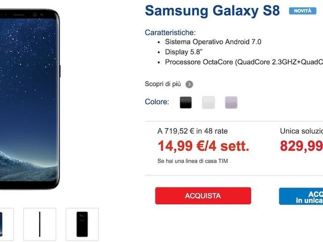 Samsung S8 in abbonamento a Rate: Vodafone, TIM, Wind Tre | Miglior prezzo è di...?