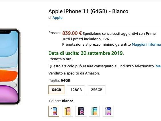 Su Amazon arrivano i pre-ordini per iPhone 11, iPhone 11 Pro e iPhone 11 Pro Max
