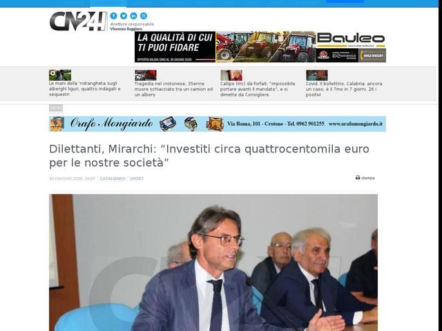 """Dilettanti, Mirarchi: """"Investiti circa quattrocentomila euro per le nostre società"""""""