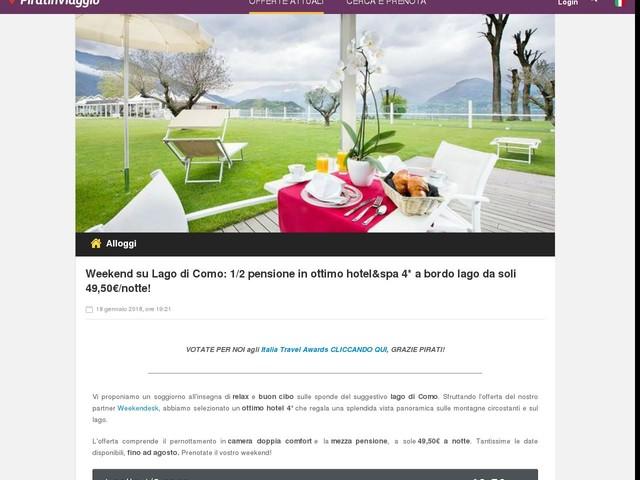 Weekend su Lago di Como: 1/2 pensione in ottimo hotel&spa 4* a bordo lago da soli 49,50€/notte!