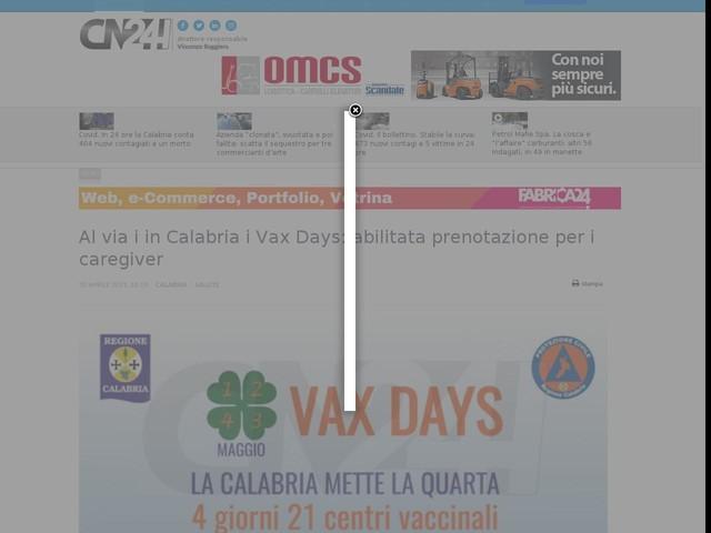 Al via i in Calabria i Vax Days: abilitata prenotazione per i caregiver