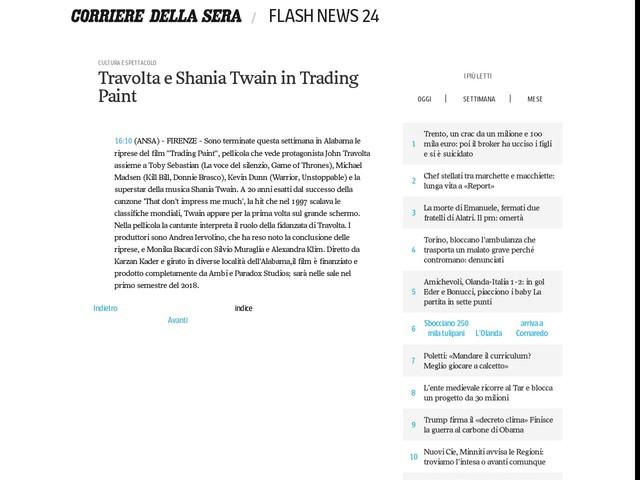 Travolta e Shania Twain in Trading Paint