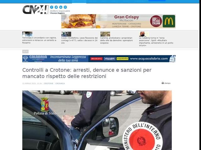 Controlli a Crotone: arresti, denunce e sanzioni per mancato rispetto delle restrizioni