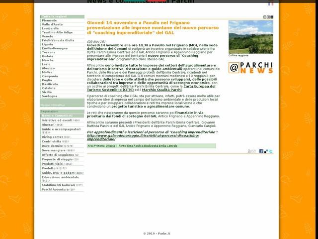 """Ente Parchi e Biodiversità Emilia Centrale - Giovedì 14 novembre a Pavullo nel Frignano presentazione alle imprese montane del nuovo percorso di """"coaching imprenditoriale"""" del GAL"""