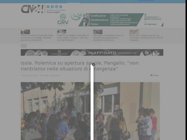 """Isola. Polemica su apertura scuole, Pangallo: """"non rientriamo nelle situazioni di emergenza"""""""