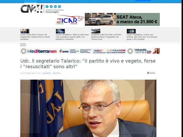 """Udc. Il segretario Talarico: """"Il partito è vivo e vegeto, forse i """"resuscitati"""" sono altri"""""""