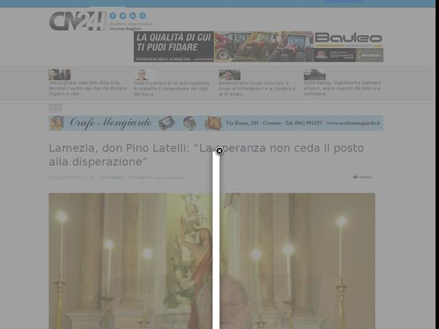 """Lamezia, don Pino Latelli: """"La speranza non ceda il posto alla disperazione"""""""