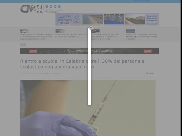 Rientro a scuola, in Calabria oltre il 30% del personale scolastico non ancora vaccinato