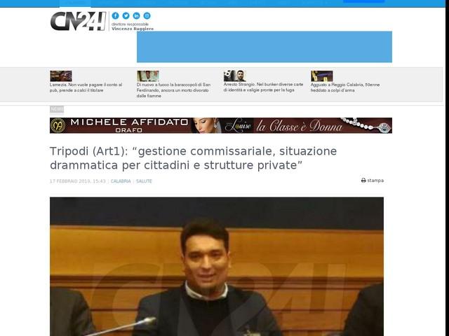 "Tripodi (Art1): ""gestione commissariale, situazione drammatica per cittadini e strutture private"""