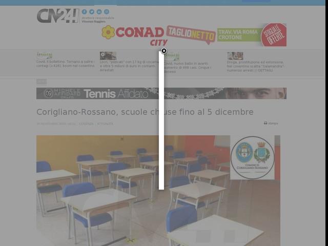 Corigliano-Rossano, scuole chiuse fino al 5 dicembre