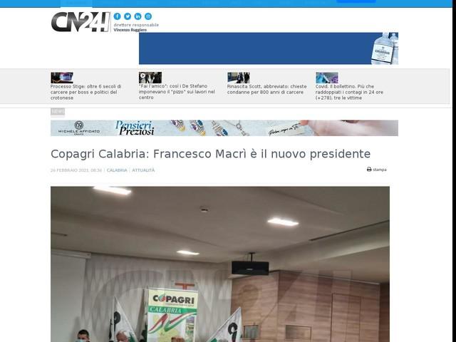 Copagri Calabria: Francesco Macrì è il nuovo presidente