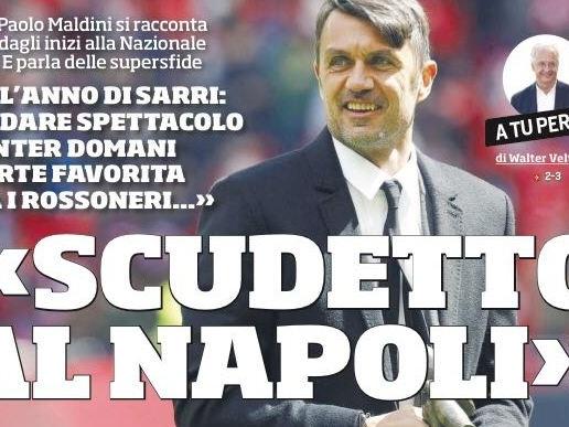 """PRIME PAGINE – """"Scudetto al Napoli, è l'anno di Sarri"""". Ma la Juve non molla"""
