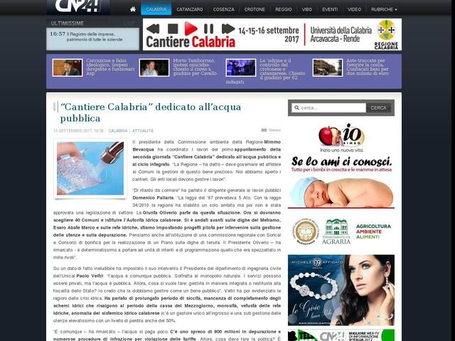 """""""Cantiere Calabria"""" dedicato all'acqua pubblica"""