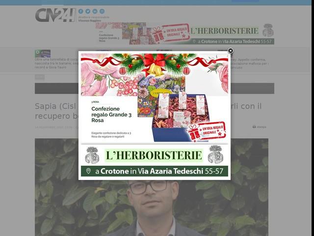 """Sapia (Cisl Calabria): """"danni maltempo, contrastarli con il recupero boschivo e agricolo"""""""