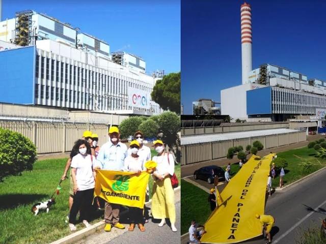 Civitavecchia: blitz di Legambiente contro la centrale a carbone più inquinante d'Italia