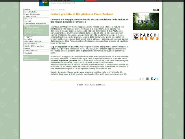PR Mincio - Lezioni gratuite di Bio-pilates a Parco Bertone