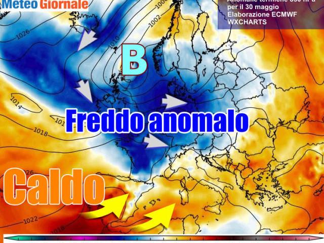 Meteo fine maggio movimentato: Italia in mezzo fra l'ARIA POLARE e il CALDO