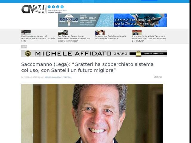 """Saccomanno (Lega): """"Gratteri ha scoperchiato sistema colluso, con Santelli un futuro migliore"""""""