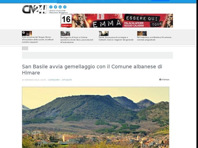 San Basile avvia gemellaggio con il Comune albanese di Himare