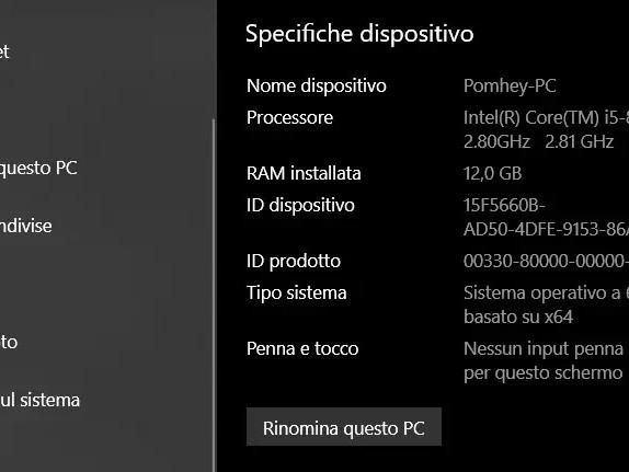 Come trovare le specifiche complete del PC Windows 10