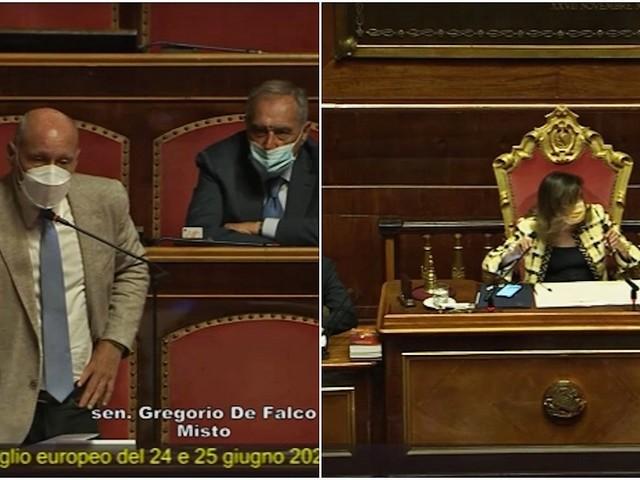 """De Falco in Aula cerca di fare una domanda sul Ddl zan ma il tempo per l'intervento è finito. Casellati: """"Mi spiace, a nessuno ne concedo in più"""""""