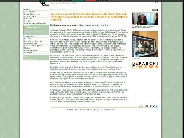 PR Nebrodi - Conclusa una insolita edizione della Scuola Italo-Russa di Formazione Avanzata in Scienze Ecologiche, Ambientali e Naturali