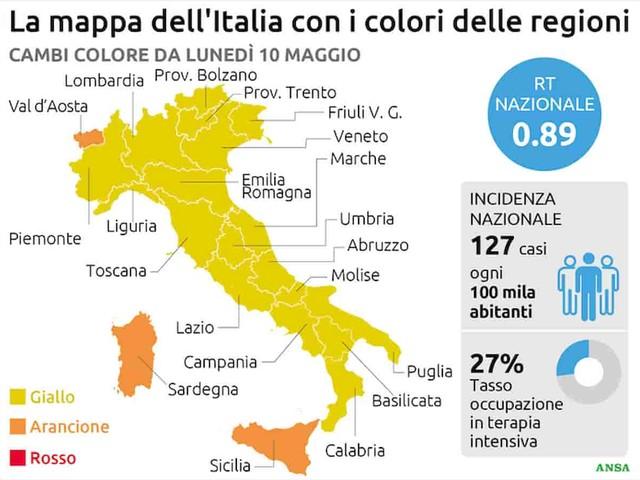 """Covid, come cambiano i colori delle Regioni da lunedì 10 maggio. E le Regioni chiedono l'abolizione dell'indice Rt: """"E' poco affidabile"""""""