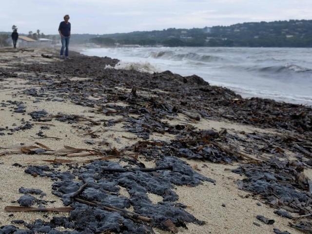 La marea nera è arrivata sulla spiaggia di Pampelonne, a St Tropez. Piano antinquinamento