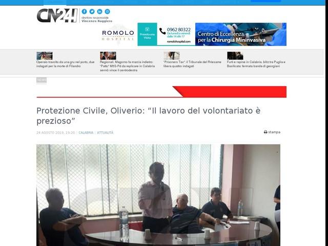 """Protezione Civile, Oliverio: """"Il lavoro del volontariato è prezioso"""""""