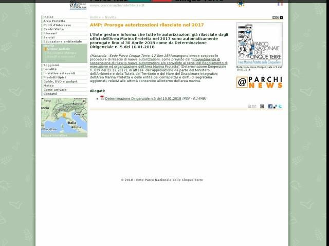 PN Cinque Terre - AMP: Proroga autorizzazioni rilasciate nel 2017