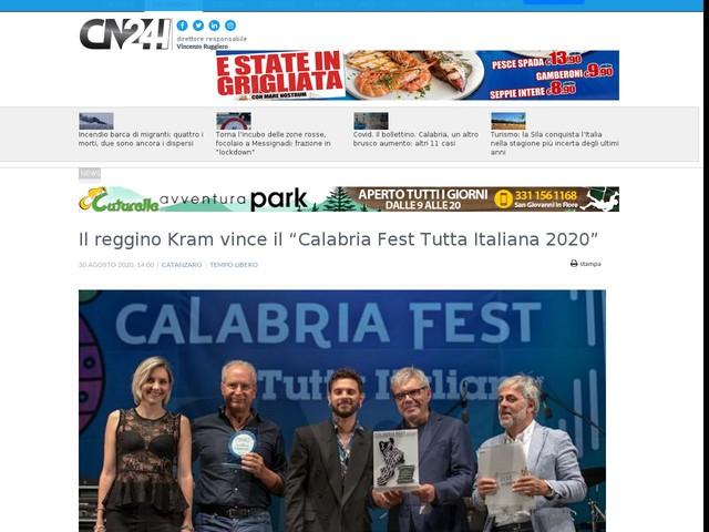 """Il reggino Kram vince il """"Calabria Fest Tutta Italiana 2020"""""""