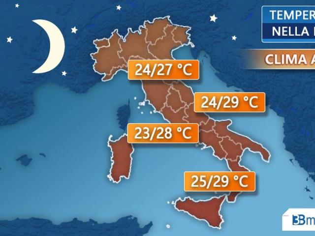 Meteo Italia. Temperature elevate anche di notte, clima afoso. Ecco dove di più
