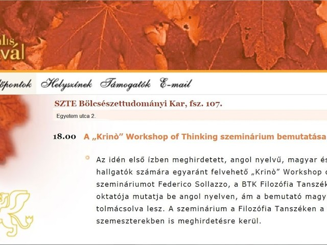 """Krinò"" Workshop of Thinking – A Presentation"