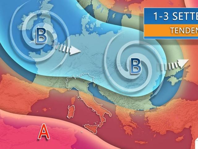 Tendenza meteo Italia, PROVE D'AUTUNNO in avvio di settembre con TEMPORALI e ULTERIORE CALO TERMICO