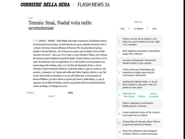 Tennis: Snai, Nadal vola nelle scommesse