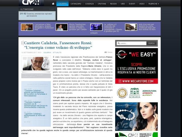"""Cantiere Calabria, l'assessore Rossi: """"L'energia come volano di sviluppo"""""""