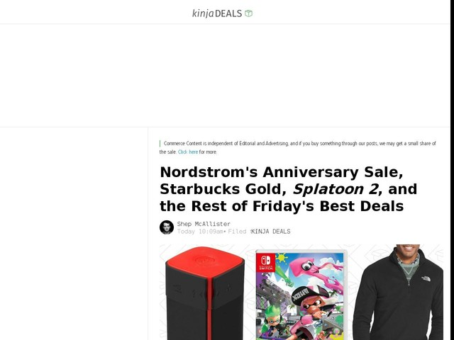 Nordstrom's Anniversary Sale, Starbucks Gold, Splatoon 2, and the Rest of Friday's Best Deals