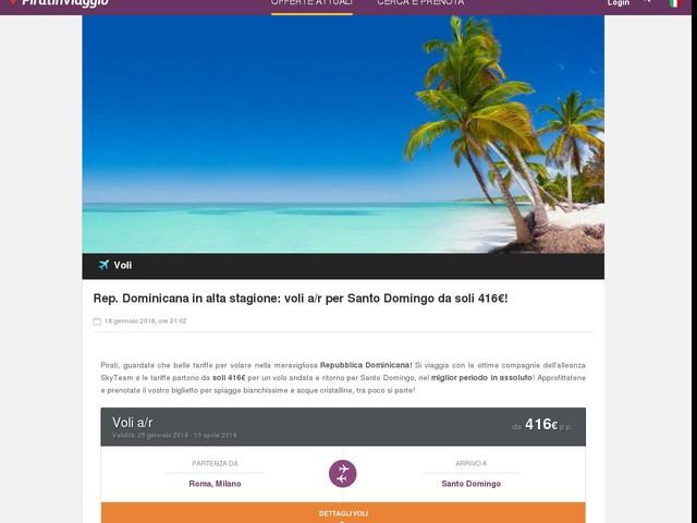Rep. Dominicana in alta stagione: voli a/r per Santo Domingo da soli 416€!
