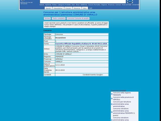 Istruttore amministrativo area amministrativa - VERCELLI