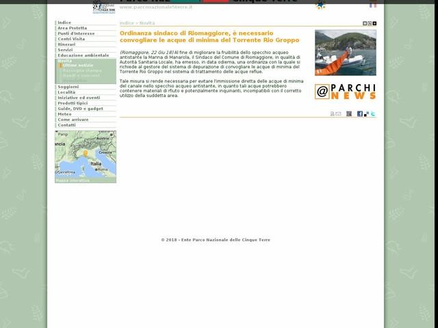 PN Cinque Terre - Ordinanza sindaco di Riomaggiore, è necessario convogliare le acque di minima del Torrente Rio Groppo