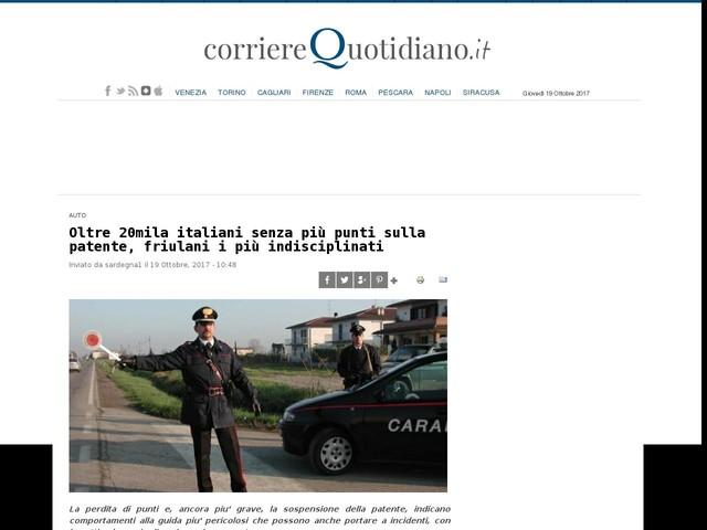 Oltre 20mila italiani senza più punti sulla patente, friulani i più indisciplinati