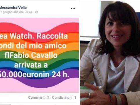 L'improbabile screenshot di Alessandra Vella che sostiene Sea Watch (con il logo di Europa Verde)