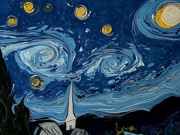 La Notte Stellata di Van Gogh dipinta su acqua