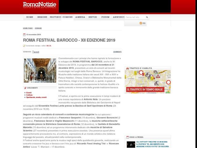 ROMA FESTIVAL BAROCCO - XII EDIZIONE 2019