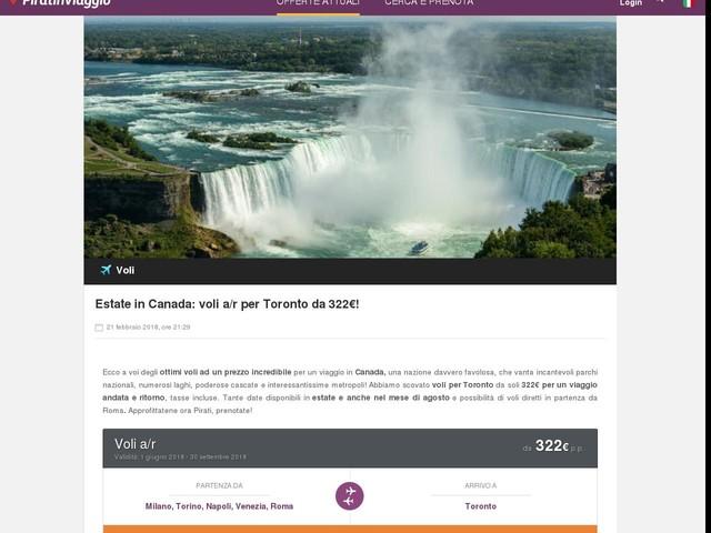 Estate in Canada: voli a/r per Toronto da 322€!