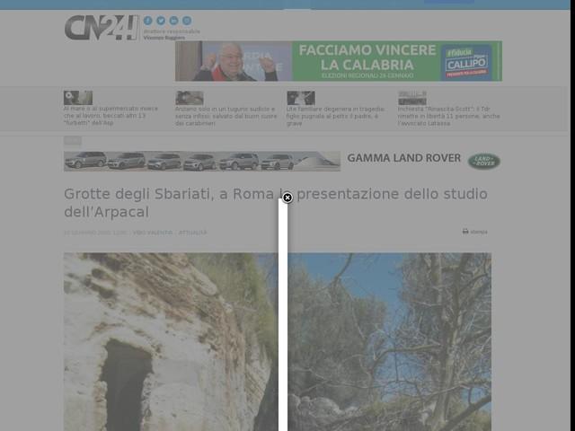 Grotte degli Sbariati, a Roma la presentazione dello studio dell'Arpacal